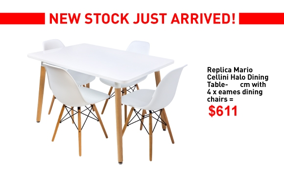 Mario Cellini 100cm Table and 4 Eames Chairs Combo Deal