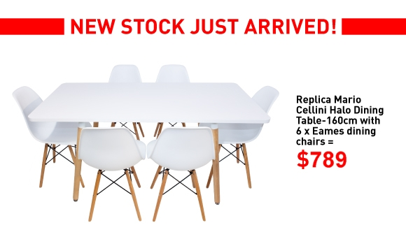 Mario Cellini 100cm Table and 6 Eames Chairs Combo Deal