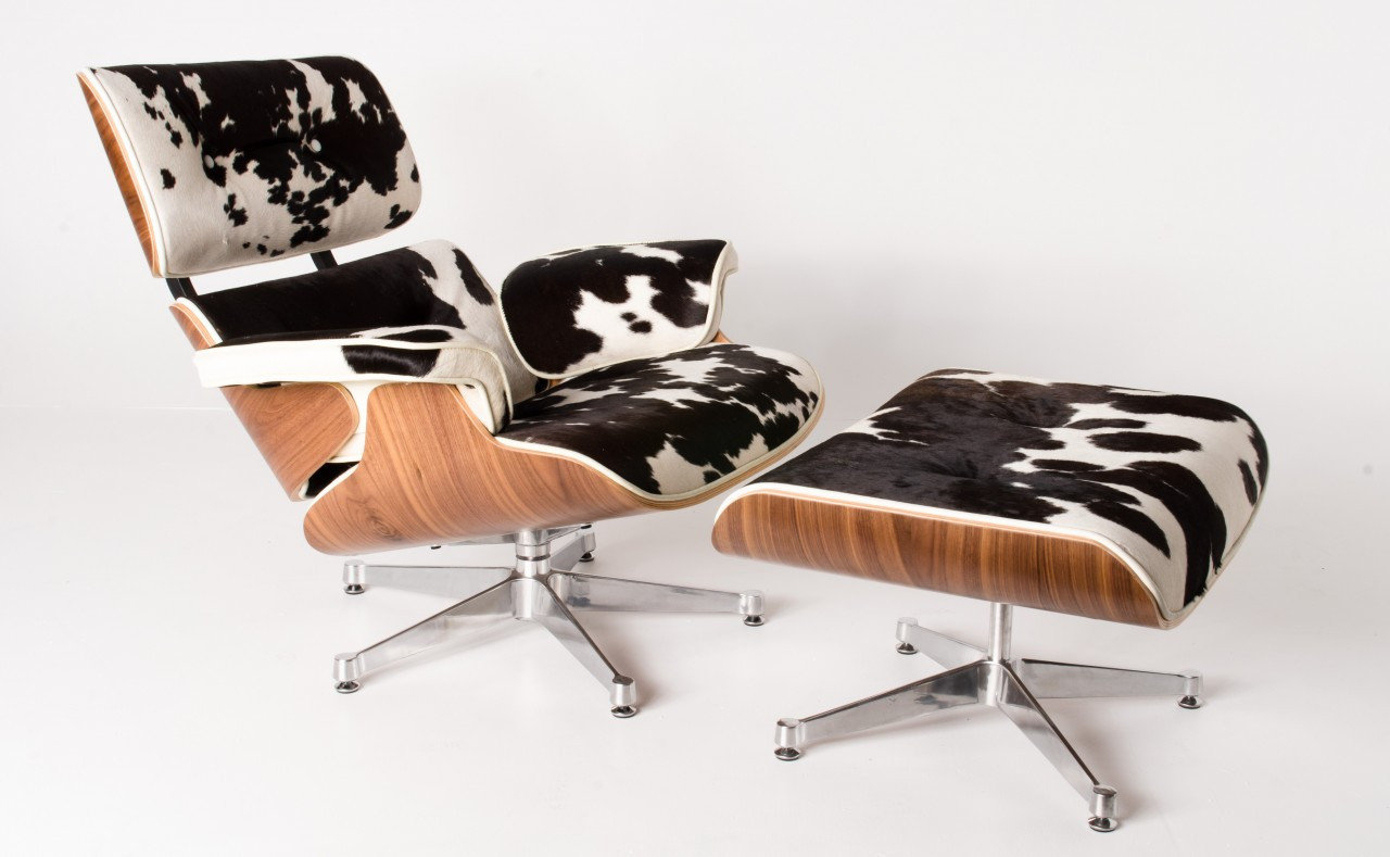 Replica Eames lounge chair+ottoman Special Limited Edition -100% Full Black Cowhide Italian Leather (Leather Piping)