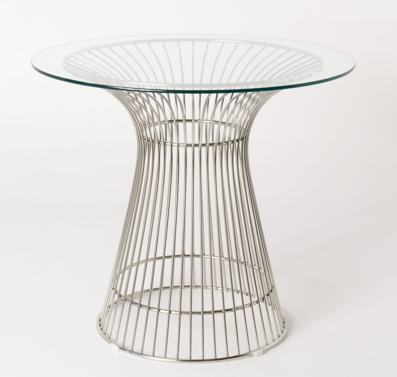 Replica Warren Platner - Wire Dining Table - Stainless Steel - Glass Top - 80cm, 90cm