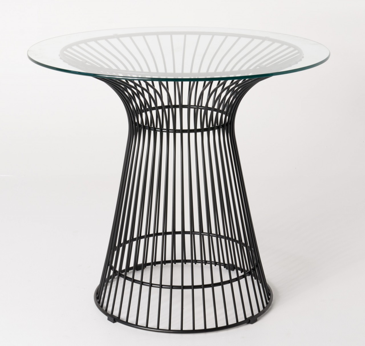 Replica Warren Platner - Wire Dining Table - Black Powdercoated - Glass Top - 80cm, 90cm