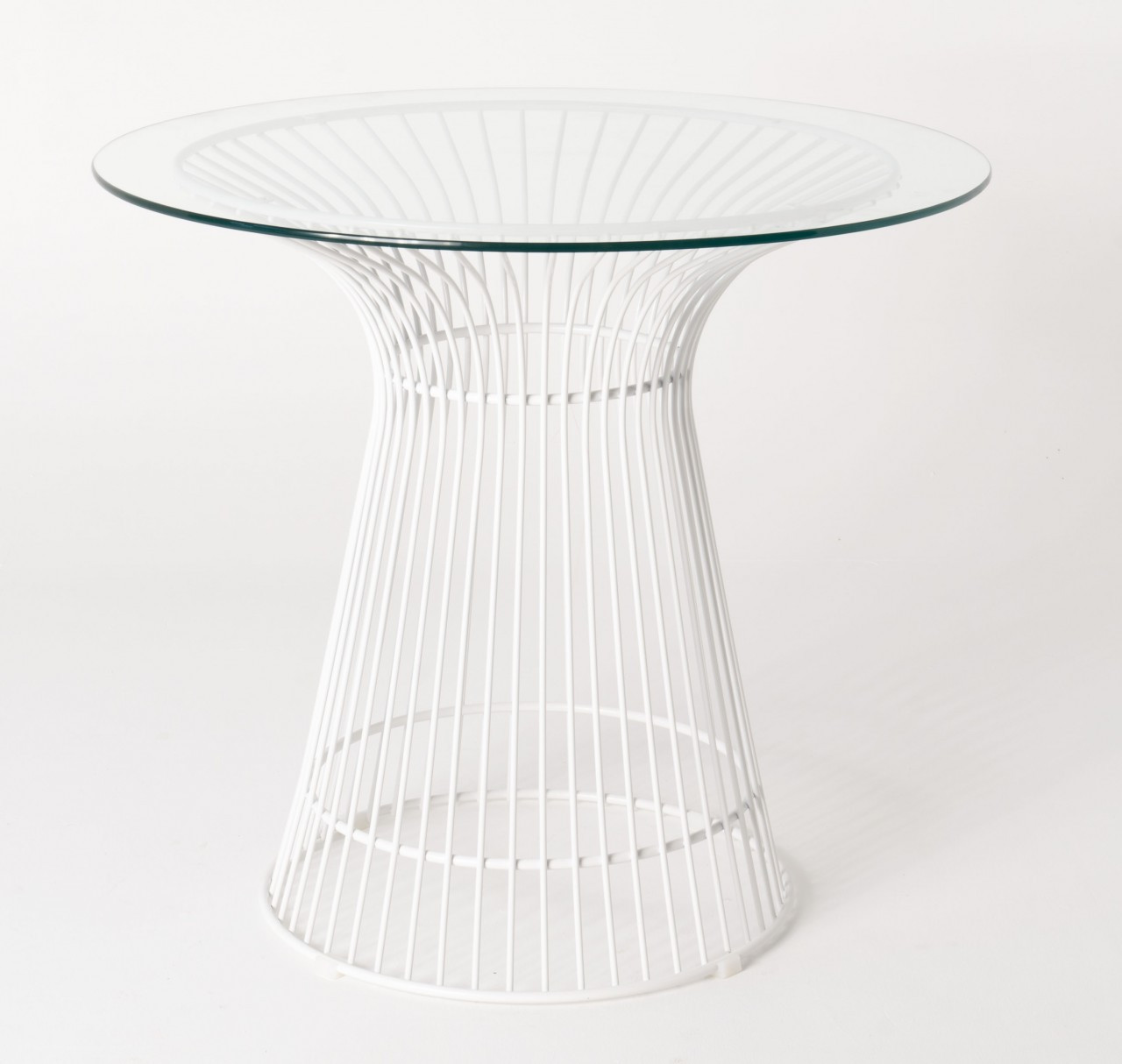 Replica Warren Platner - Wire Dining Table - White Powdercoated - Glass Top - 80cm, 90cm