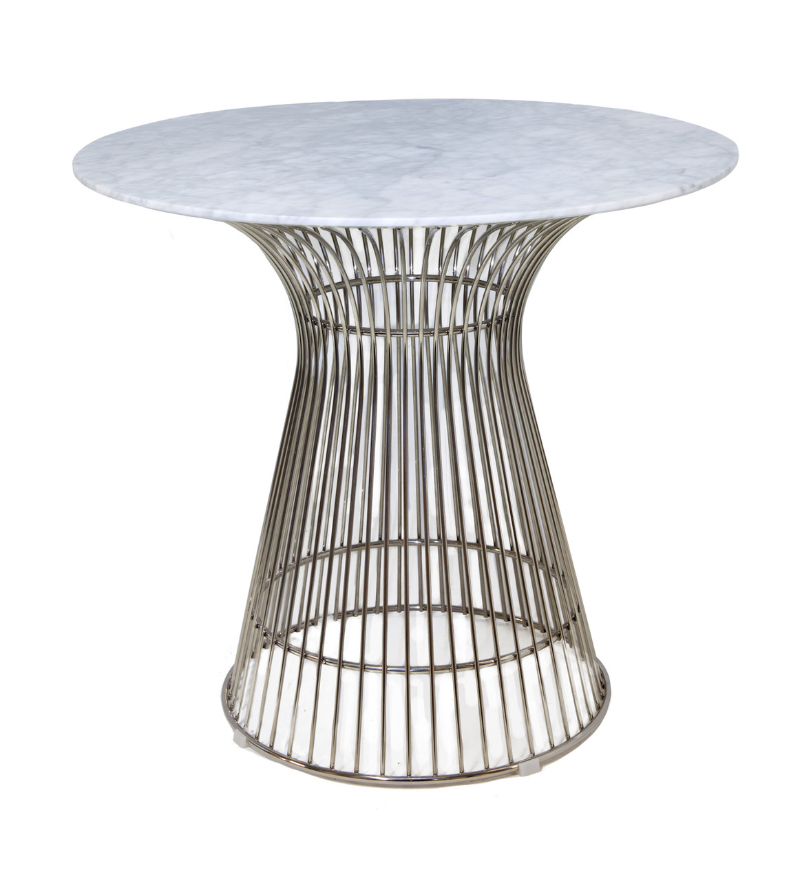 Replica Warren Platner - Wire Dining Table - Stainless Steel - Marble Top - 80cm