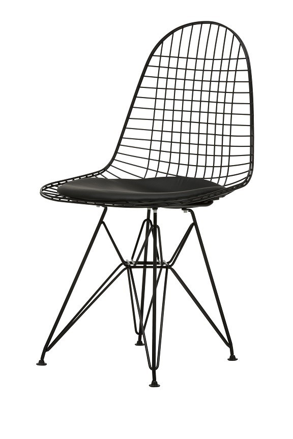 Replica Ray & Charles Eames Eiffel Wire Chair - Powdercoated Black - various colour seat cushion only