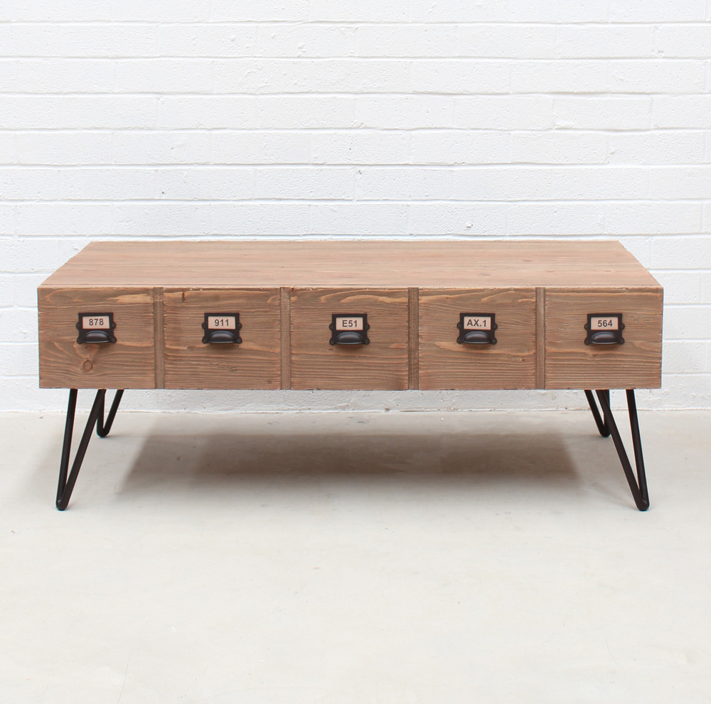Industrial coffee table with pigeon hole drawers (hf)