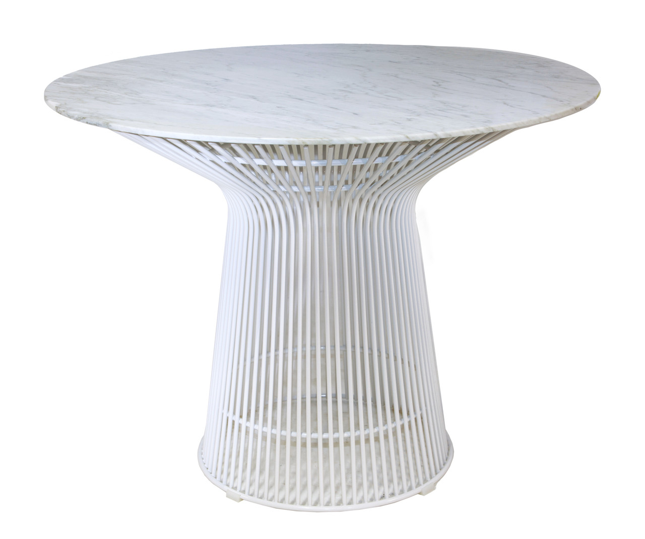 Replica Warren Platner - Wire Dining Table - White Powdercoated - Marble Top - 120cm