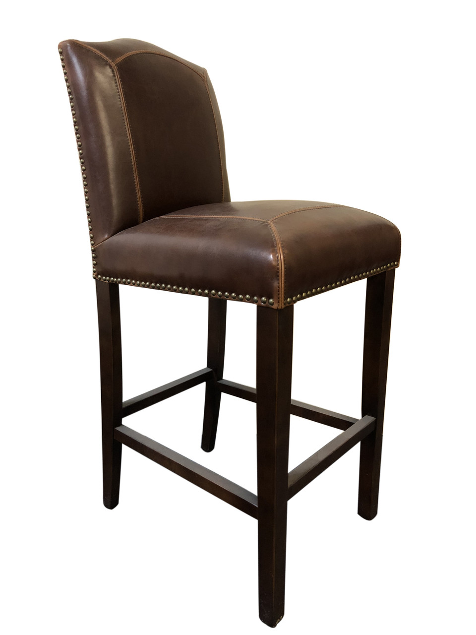 French Provincial Barstool - Brown Italian Leather - Walnut Timber