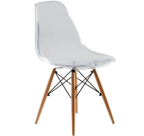 Replica Charles Eames DSW Dining Chair - transparent, black steel, natural timber legs